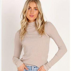 Oatmeal Beige Mock Neck Turtleneck Ribbed Sweater